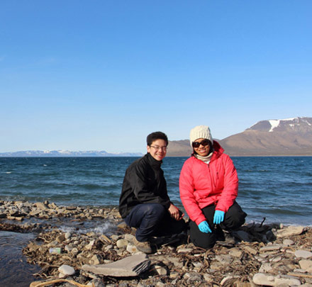 Sia (left) and Nastassia in the Arctic. They are two of only 18 students selected worldwide for the program.