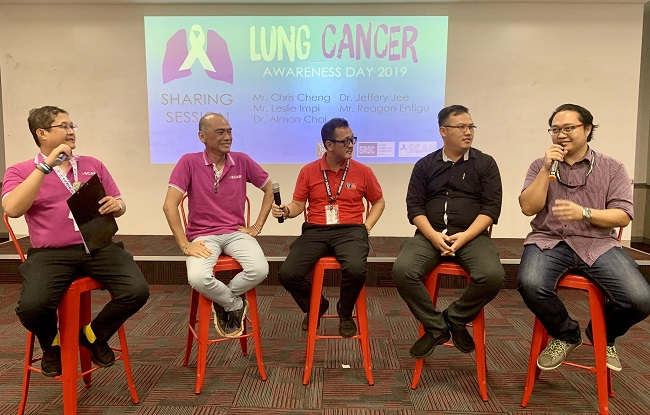 Sharing session, left to right: Mr. Chris Cheng, Mr. Leslie Impi, Dr. Almon Chai, Dr. Jeffery Jee, and Mr. Reagan Entigu.